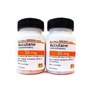 Accutane (Isotretinoin) Packung mit Tabletten 20 mg