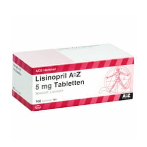 Packung von Tabletten Lisinopril 5 mg